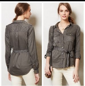 Anthropologie MAEVE Safari gray top